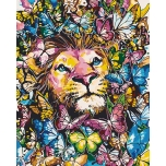 Lion and butterflies